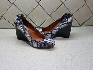 Lanvin black cream Snakeskin Wooden Wedge Heel Ballerina Pumps SZ 37