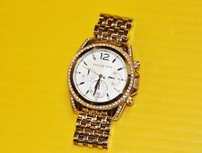 """LQQK Sparkly Michael Kors Watch MK5836 Rose Gold 6"""" bracelet White Dial Bling"""