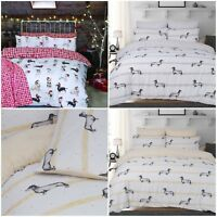 Christmas Dogs Reversible Red Duvet Cover Quilt Bedding Set Pillowcases All Size