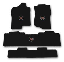 2007-2014 Escalade Base Model 4pc Black Carpet Floor Mats w Cadillac Crest Logo