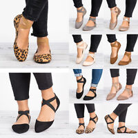 Womens Ankle Strap Ballet Flats Ballerina Comfy Shoes Casual Pump Shoes Size