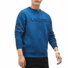 a6260c2ca Lacoste Men Sweater Crew Neck Lettering Embossed Text Sweatshirt Blue NWT