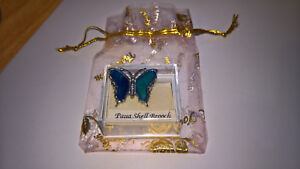 PAUA SHELL BUTTERFLY BROOCH IN DISPLAY BOX NEW WITH ORGANZA GIFT BAG(UK SELLER)