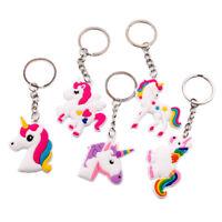 5pcs PVC Unicorn Horse Keychain Keyring Handbag Key Ring Lady Bag Charm Pendant