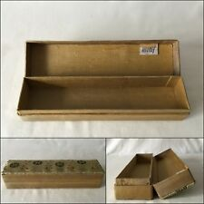 Vintage Gold Colour MOTIF Hinged Box w Embroidered Lid 19 x 5 x 4cm When Closed