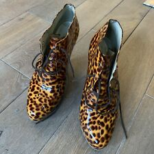 Opening Ceremony Stefanial Shell Marrone Brown Animal Print Ankle Boots Wedges