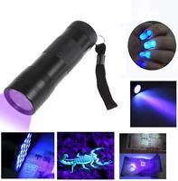 UV Ultra Violet 12 LED Flashlight Mini Blacklight Aluminum Torch Light Lamp NEW