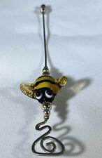 "Kevin Irwin Handmade Glass Bumblebee Sterling Silver Brooch Hatpin 5.5"""