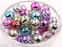 New 20Pcs Transparent Candy Stripes Plating Color Gifts Loose Beads Charms 12mm