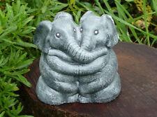Steinfigur Elefanten Elefantenpaar anthrazit