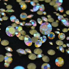 Mixed Sizes Crystal AB Round Rhinestones Glass Strass Nail Art 10g 144+ps U1