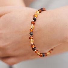 Natural Baltic Amber Bracelet Genuine Sterling Silver Clasp Separators Elegant