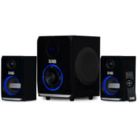 Acoustic Audio 2.1 Bluetooth 3 Piece Speaker System with Lights Laptop Desktop