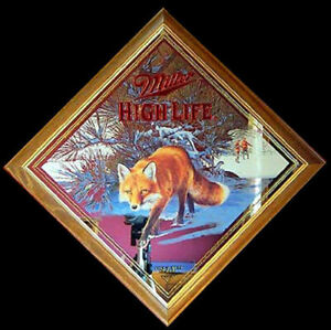 Miller High Life Fox Mirror - Series III - Diamond Shaped - Mint in Original Box