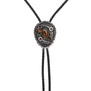 Flower Grass & Tiger-eye Stone BOLO Tie Necklace Wedding Western Native American