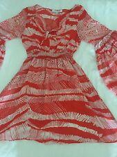 Alexis Orange Print Silk Mini Dress Or Top XS Pristine  Bell Sleeves Trending