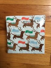 NWT Molly & Rex~Dachshund Reindeer Dog Christmas Holiday 40-Ct Cocktail Napkins