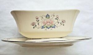 Lenox Charleston Gravy Boat Porcelain Serving Bowl-Platinum-Attached Underplate