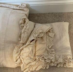 SIMPLY SHABBY CHIC Rosebloom Duvet & Sham Set  Queen bedspread Linen Ivory tan
