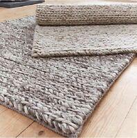 Hand Woven Rug Knit Natural & Grey,100% Wool RRP £119.99