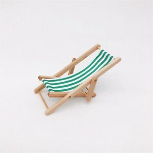 1:12 Scale Foldable Wooden Lounge Chair Leisure Beach Chair Doll Multicolor