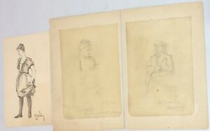 Lot 3 Original 1880s EDMUND BEARDSLEY NOLAN Drawings Woman Wagner Opera Military