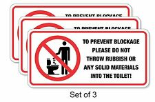 3X TOILET BLOCKAGE WARNING DECAL FOR ACCOMMODATION, AirBnB, GUEST HOUSES, HOTEL