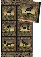 Fabric Benartex Shadow Mountain Moose Deer Bear Wolf Birds Panel FREE Pattern