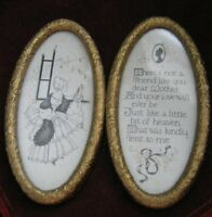 """Victorian Double Oval 4"""" Golden Frame w/ Line Drawing & Dear MOTHER Poem & Cameo"""
