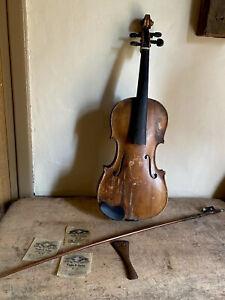 Old Antique Folky Wooden Violin Musical Instrument Patina Handmade AAFA