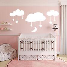 Cartoon Moon Stars Clouds Large Size Wall Sticker Baby Nursery Kids Room Moon
