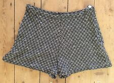 Vintage 1960's Hot Pants Shorts Black & White Geometric Wool Knit Size L