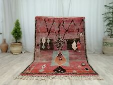 Moroccan Vintage Tribal Boujad Handmade Rug 4'2x5'7 Abstract Berber Wool Red Rug