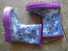 Kid Made Modern Kids Girls Toddler Unicorn Garden Rain Boots Purple<size L>9/10