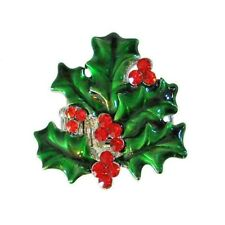 Christmas Holly Berries Stretch Ring Sparkling Wintergreen Enamel & Red Crystals