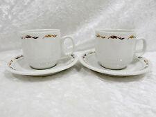Bristile - 2 Demitasse Coffee Cups & Saucers  light & dark brown leaves  vgc