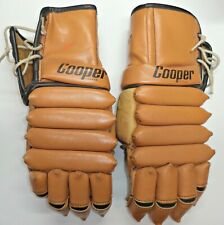 1A - VINTAGE 1960's COOPER 28 TAN VINYL & LEATHER HOCKEY GLOVES LEATHER PALMS