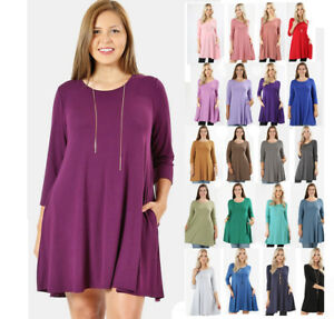 Women's Plus T-Shirt Tunic Dress 3/4 Sleeve Loose Fit Casual Solid Colors Basic