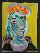 PABLO PICASSO        DRAWING SIGNED  WATERCOLOR ON ORIGINAL PAPER OF THE 900s