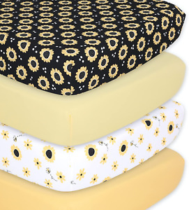The Peanutshell Sunflower & Bee Fitted Crib Sheet Set for Boys or Girls, Unisex