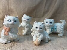 4 Homco  Vintage Homco White Cat Figurines Kittens Kitty .