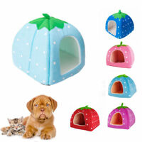 Soft Cotton Cute Strawberry Style Pets Bed Dog Cat House Mat Nest Yurt S M L