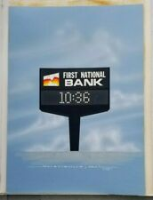 Set of 4 Mid Century Retro Ad Paintings First National Bank Vinyl American Sign