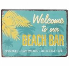 Blechschild - WELCOME TO OUR BEACH BAR Vintage Wandschschild Metall Schild