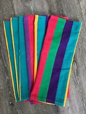 VINTAGE CRATE AND BARREL SET OF SIX BRIGHT STRIPES TABLE NAPKINS