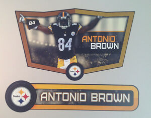 """Antonio Brown FATHEAD Player VICTORY Shield 27"""" x 17"""" +Name Sign 30""""x7"""" Steelers"""