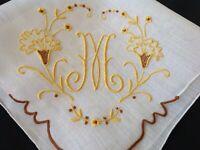 #1458🌟Regal Vintage Monogram M Hanky Madeira 3D Organdy Flower Gold Amber Fancy
