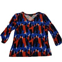 Womens Multi Color Tribal 3/4 Sleeve V-neck Top Size Large Red White Navy Blue