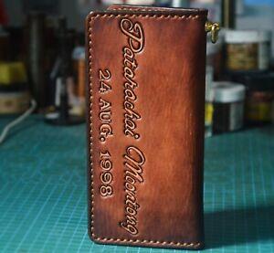 Handmade Mens Wallet Biker Wallet Trucker Long Leather Custom Wallet X8