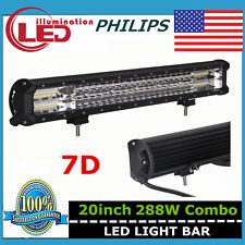 20in 7D Tri Row LED Work Light Bar Philips 288W Flood Spot Driving Lamp PK 126W